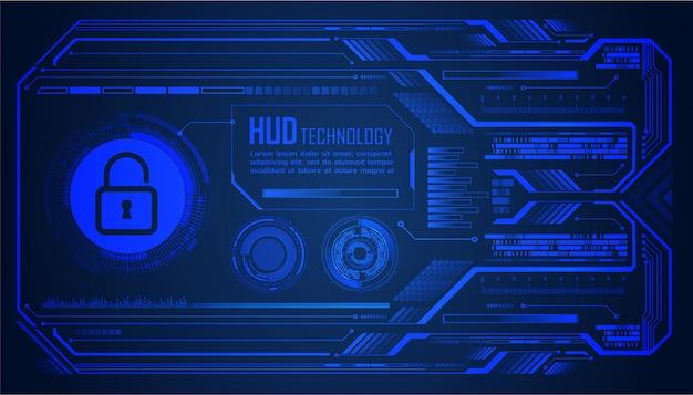 Cadeado fechado no fundo digital, segurança cibernética de hud