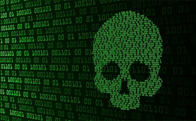 Cadeado fechado no fundo digital, segurança cibernética do crânio