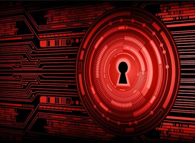 Cadeado fechado no fundo digital, segurança cibernética vermelha