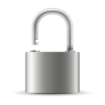 Cadeado fechado para proteção, fechadura de aço metal.