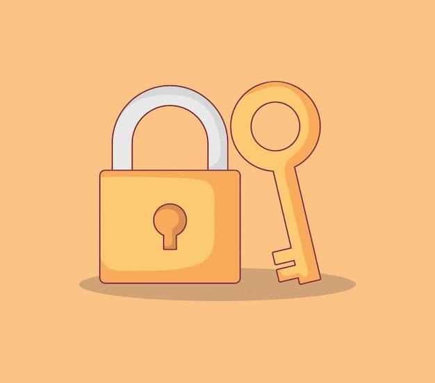 Cadeado seguro e seguro com chave