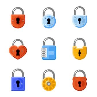 Cadeados ajustados em estilo plano