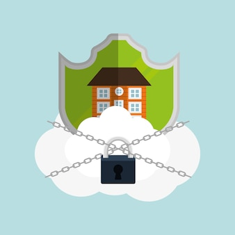 Cadeia de cadeado de nuvem de segurança em casa