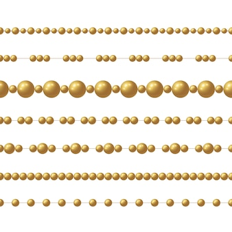 Cadeia de contas de ouro realista