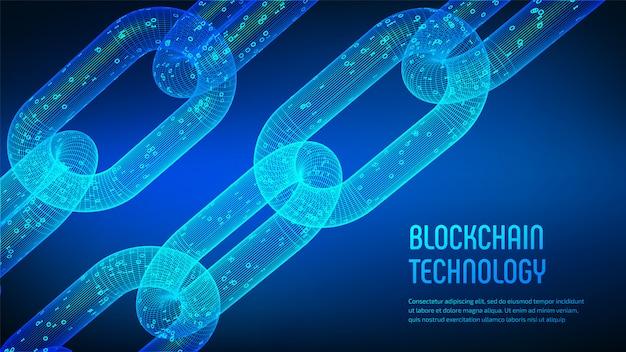Cadeia de estrutura de arame 3d com código digital. blockchain.
