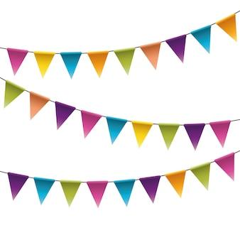 Cadeia de galhardetes festa colorida, festão com bandeiras.