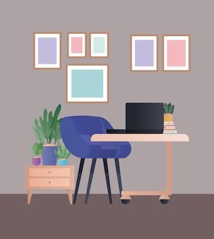 Cadeira azul com laptop e molduras no design do quarto, decoração de interiores, apartamento em prédio e tema residencial