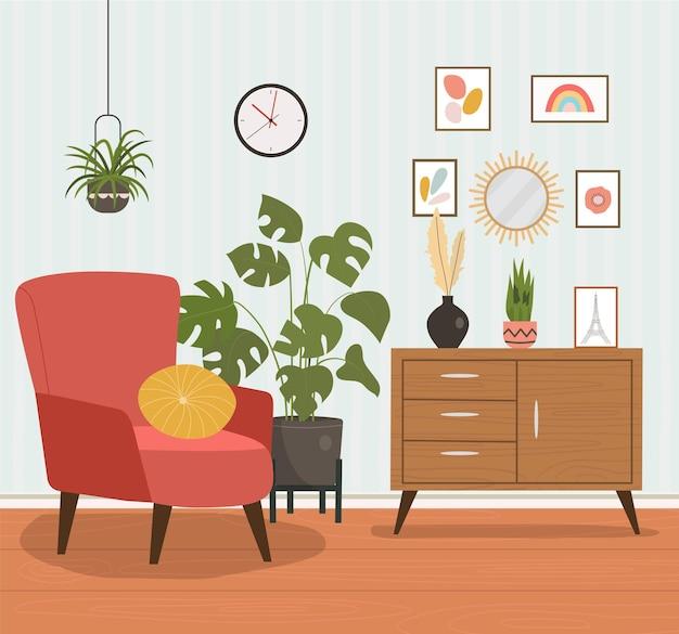 Cadeira confortável, estante de livros e plantas da casa.