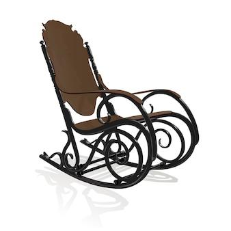 Cadeira de balanço antiga de ferro fundido com elementos de madeira