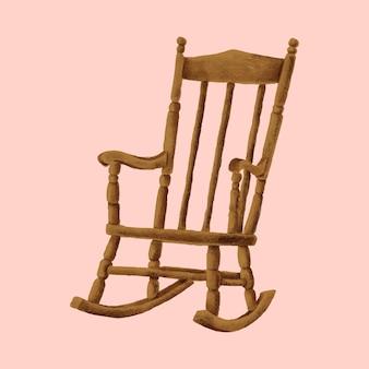 Cadeira de balanço de madeira desenhada de mão
