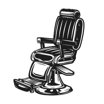 Cadeira de barbeiro isolada no fundo branco. elemento para emblema de barbearia, sinal, crachá, cartaz. ilustração
