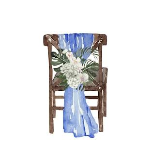 Cadeira de casamento em aquarela decorada com flores