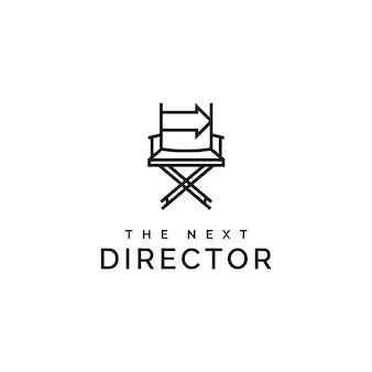 Cadeira de diretor de cinema e seta direita logo