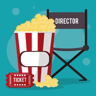 Cadeira de diretor de cinema pop corn e bilhete