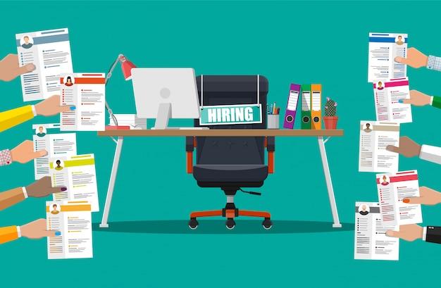 Cadeira de escritório, assinar vaga, caixa com escritório itmes