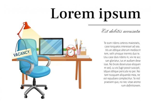 Cadeira de escritório com vaga sinal local de trabalho de assento vazio para contratação de negócios de funcionários e ilustração de ícone de poltrona mesa vaga com lugar para o seu texto no fundo branco