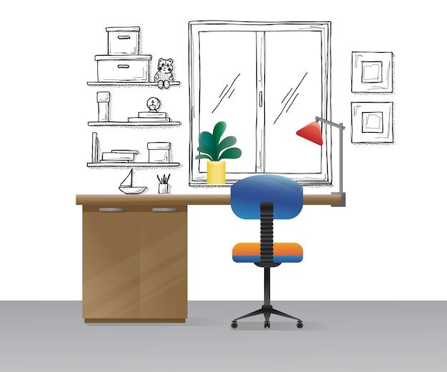 Cadeira de escritório, mesa, vários objetos em cima da mesa. espaço de trabalho com estilo. ilustração