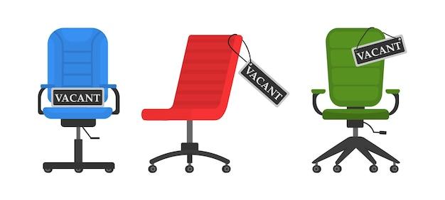 Cadeira de escritório vazia com placa de vaga