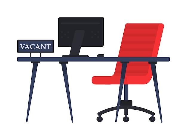 Cadeira de escritório vazio com sinal vago. emprego, vaga e contratação de conceito de trabalho. local de trabalho vago para empregado. o conceito de contratação e recrutamento de uma empresa, pesquisa empregado. .
