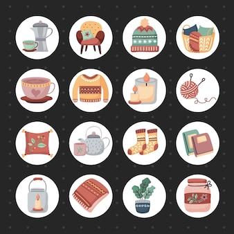 Cadeira de humor hygge com design de cesta, casa aconchegante e ilustração de tema de inverno