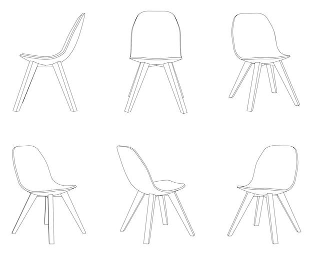 Cadeira de jantar vetorial com ilustração de contorno de diferentes vistas