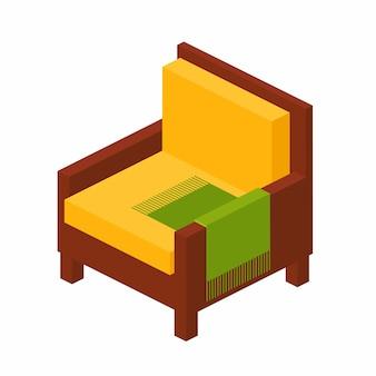 Cadeira de madeira com encosto alto em vista isométrica