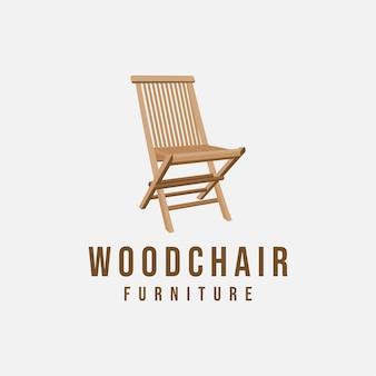 Cadeira de madeira estilo antigo mobiliário moderno logotipo símbolo ícone design