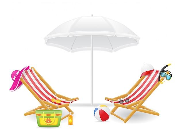 Cadeira de praia e guarda-sol