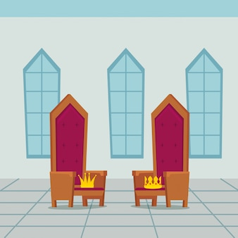 Cadeira de reis no castelo interior