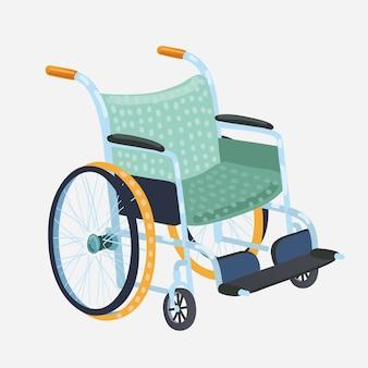 Cadeira de rodas. cadeira de transporte clássica para pessoas com deficiência, enfermos ou feridos, equipamento médico. ilustração