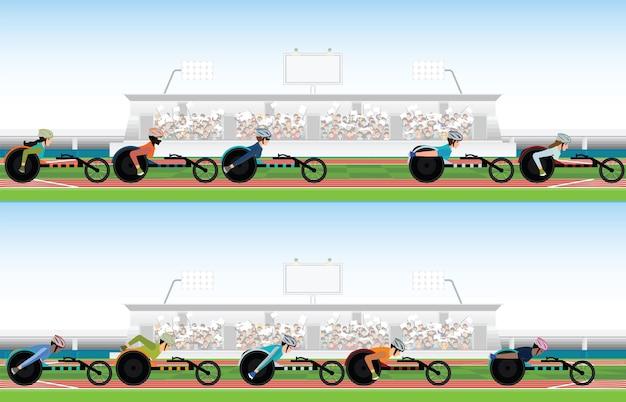 Cadeira de rodas de competição em movimento no estádio.