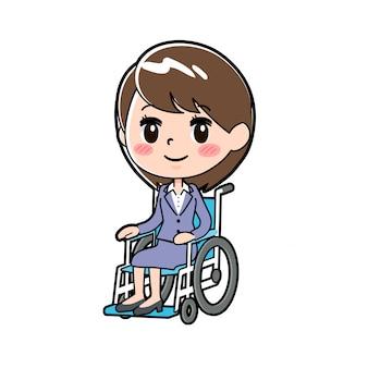 Cadeira de rodas de mulher de negócios de linha