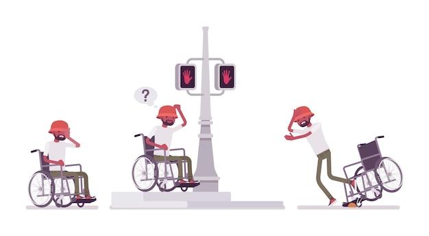Cadeira de rodas masculina em emoções negativas