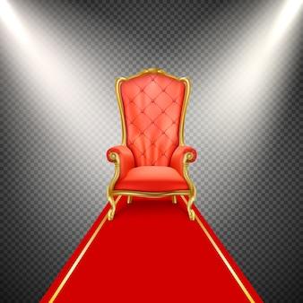 Cadeira de trono realista com tapete vermelho