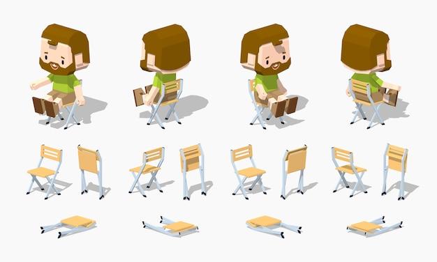 Cadeira dobrável 3d lowpoly isométrica