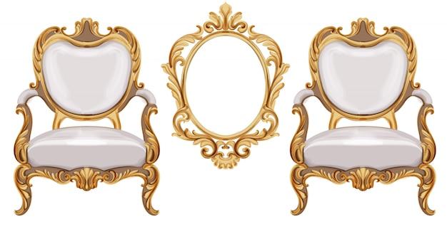 Cadeira estilo luís xvi com ornamentos neoclássicos dourados