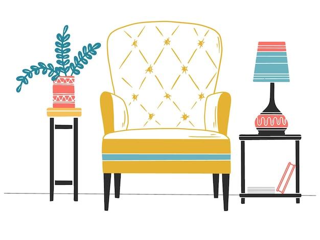 Cadeira, mesa com abajur. ilustração desenhada à mão de um estilo de esboço