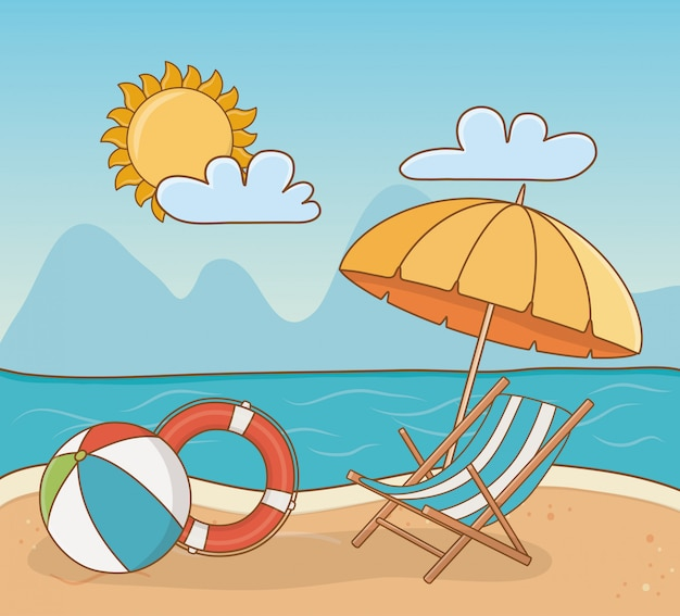 Cadeira na cena da praia