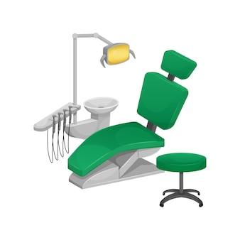 Cadeira odontológica isolada no branco