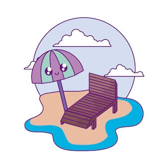 Cadeira, praia, com, guarda-chuva, abertos, kawaii, praia
