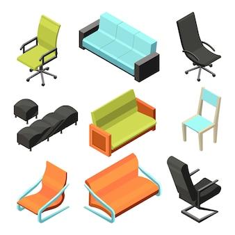 Cadeiras de escritório diferentes. ilustrações isométricas