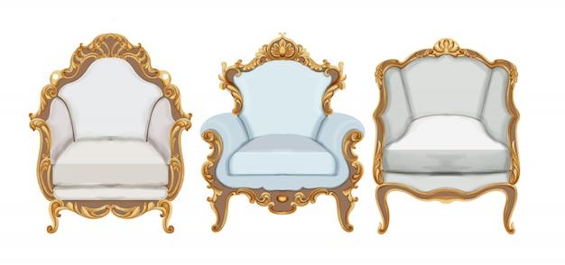 Cadeiras de estilo barroco com decoração elegante em ouro