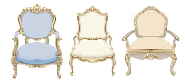 Cadeiras de estilo barroco, com decoração elegante