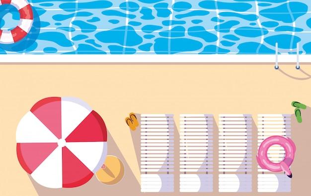 Cadeiras de piscina e guarda-chuva