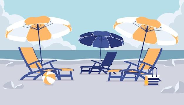 Cadeiras de praia para férias no mar