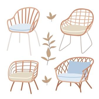 Cadeiras de vime no estilo bohomóveis bonitos em estilo rústico