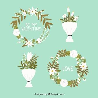 Cadeiras e buquês de flores desenhados à mão no dia dos namorados
