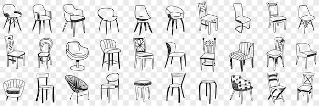 Cadeiras e poltronas conjunto de ilustração de doodle