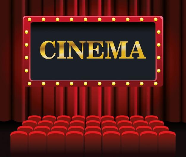 Cadeiras e tela de cinema