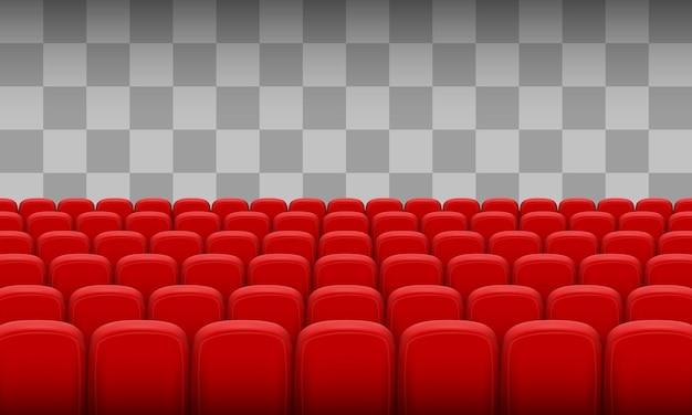 Cadeiras vermelhas de cinema em um fundo transparente. ilustração vetorial